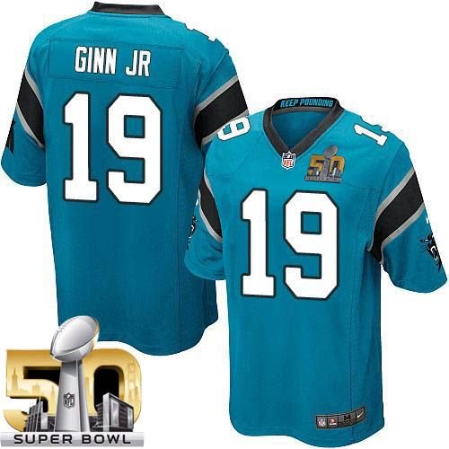 Nike Panthers #19 Ted Ginn Jr Blue Alternate Super Bowl 50 Youth Stitched NFL Elite Jersey