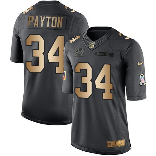 Nike Bears #34 Walter Payton Black Youth Stitched NFL Limited Gold Salute to Service Jersey