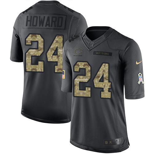 Nike Bears #24 Jordan Howard Black Youth Stitched NFL Limited 2016 Salute to Service Jersey
