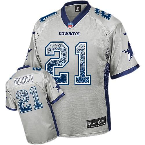 Nike Cowboys #21 Ezekiel Elliott Grey Youth Stitched NFL Elite Drift Fashion Jersey