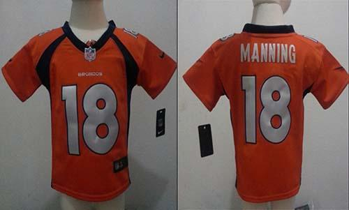 Toddler Nike Broncos #18 Peyton Manning Orange Team Color Stitched NFL Elite Jersey