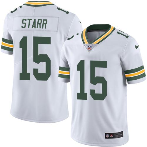 Nike Packers #15 Bart Starr White Youth Stitched NFL Limited Rush Jersey