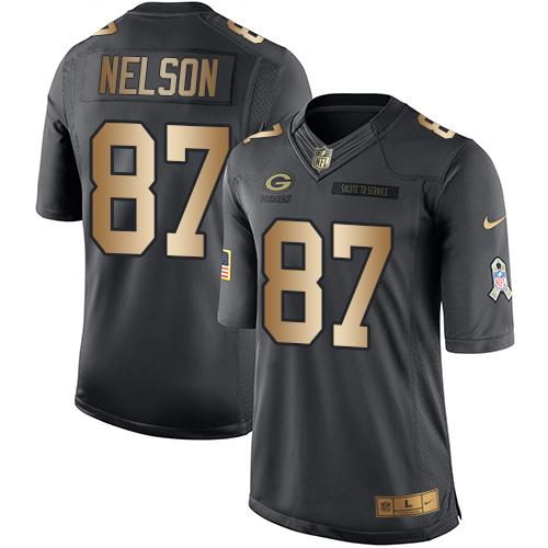 Nike Packers #87 Jordy Nelson Black Youth Stitched NFL Limited Gold Salute to Service Jersey