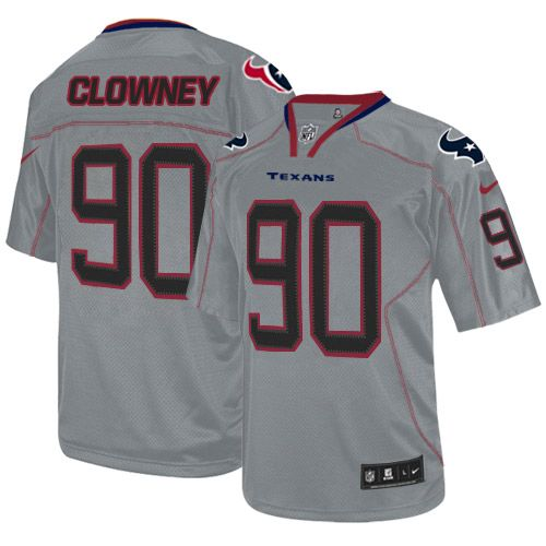 Nike Texans #90 Jadeveon Clowney Lights Out Grey Youth Stitched NFL Elite Jersey