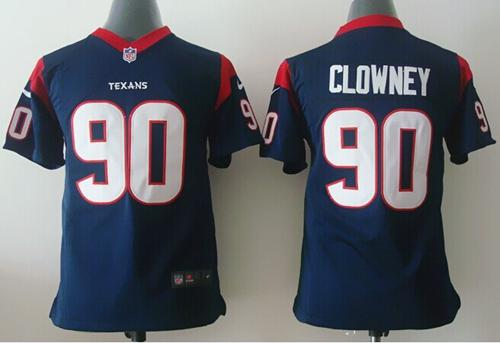 Nike Texans #90 Jadeveon Clowney Navy Blue Team Color Youth Stitched NFL Elite Jersey