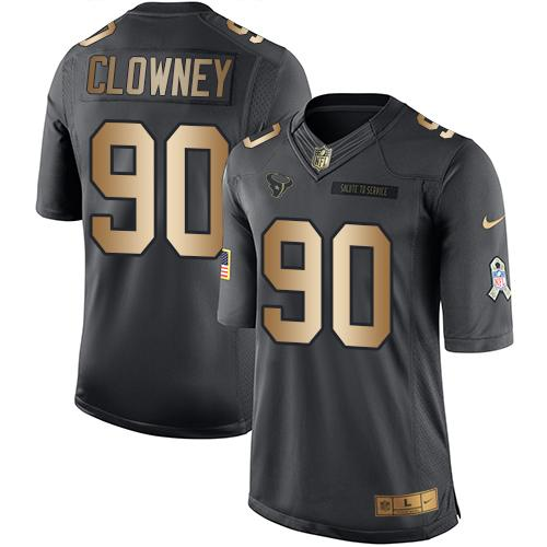 Nike Texans #90 Jadeveon Clowney Black Youth Stitched NFL Limited Gold Salute to Service Jersey
