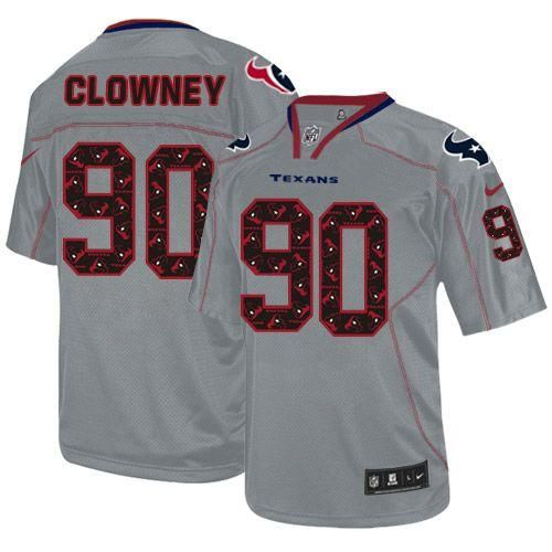Nike Texans #90 Jadeveon Clowney New Lights Out Grey Youth Stitched NFL Elite Jersey