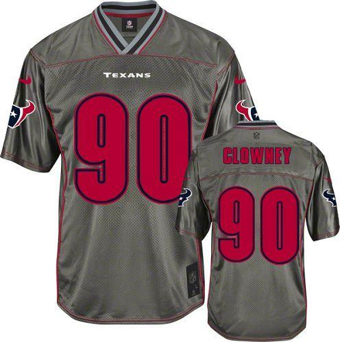 Nike Texans #90 Jadeveon Clowney Grey Youth Stitched NFL Elite Vapor Jersey