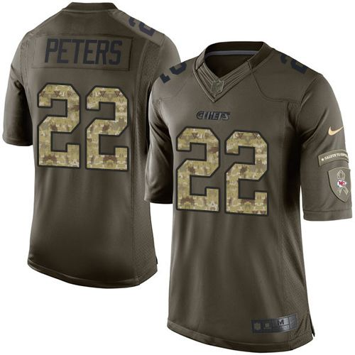 Nike Chiefs #22 Marcus Peters Green Youth Stitched NFL Limited Salute to Service Jersey