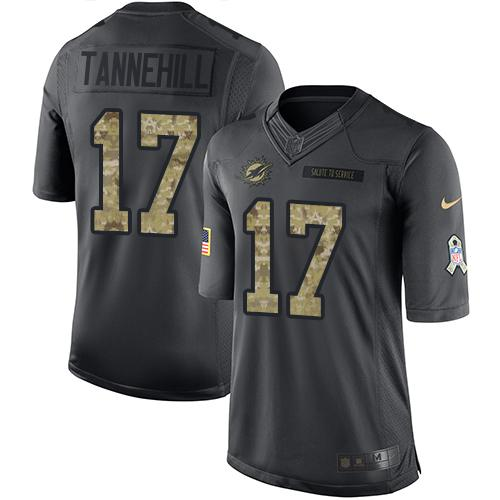 Nike Dolphins #17 Ryan Tannehill Black Youth Stitched NFL Limited 2016 Salute to Service Jersey