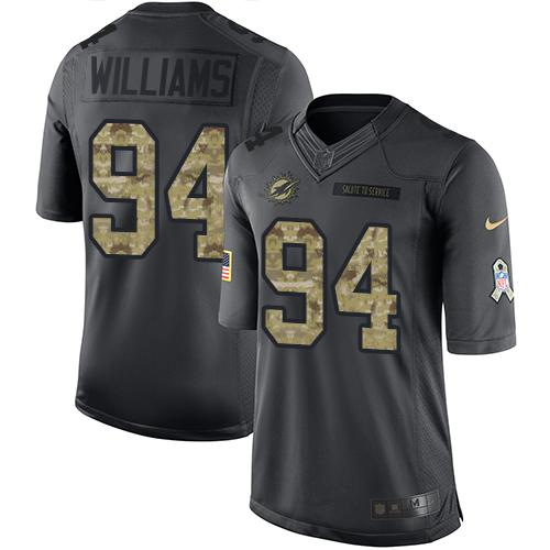 Nike Dolphins #94 Mario Williams Black Youth Stitched NFL Limited 2016 Salute to Service Jersey