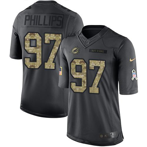 Nike Dolphins #97 Jordan Phillips Black Youth Stitched NFL Limited 2016 Salute to Service Jersey