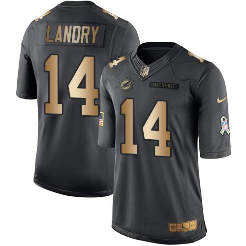 Nike Dolphins #14 Jarvis Landry Black Youth Stitched NFL Limited Gold Salute to Service Jersey