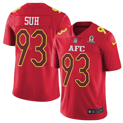 Nike Dolphins #93 Ndamukong Suh Red Youth Stitched NFL Limited AFC 2017 Pro Bowl Jersey