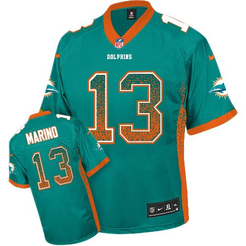Nike Dolphins #13 Dan Marino Aqua Green Team Color Youth Stitched NFL Elite Drift Fashion Jersey