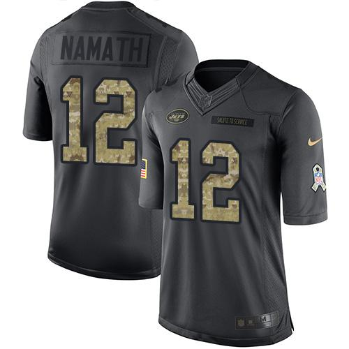 Nike Jets #12 Joe Namath Black Youth Stitched NFL Limited 2016 Salute to Service Jersey