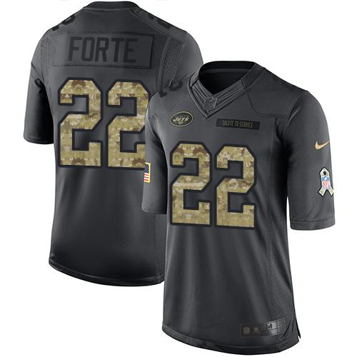 Nike Jets #22 Matt Forte Black Youth Stitched NFL Limited 2016 Salute to Service Jersey