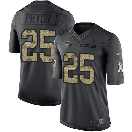 Nike Jets #25 Calvin Pryor Black Youth Stitched NFL Limited 2016 Salute to Service Jersey