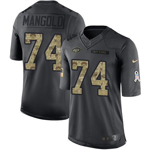 Nike Jets #74 Nick Mangold Black Youth Stitched NFL Limited 2016 Salute to Service Jersey