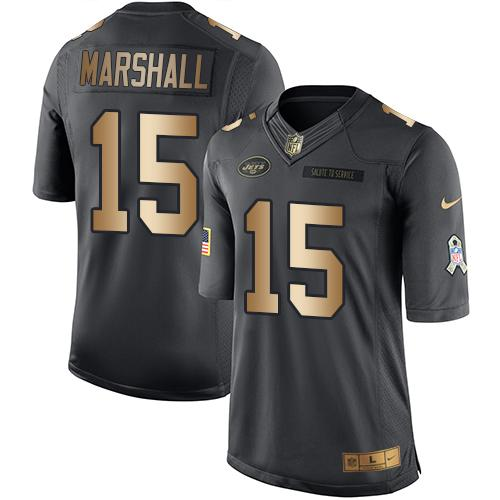 Nike Jets #15 Brandon Marshall Black Youth Stitched NFL Limited Gold Salute to Service Jersey