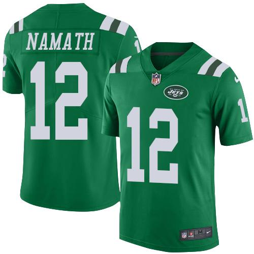 Nike Jets #12 Joe Namath Green Youth Stitched NFL Elite Rush Jersey