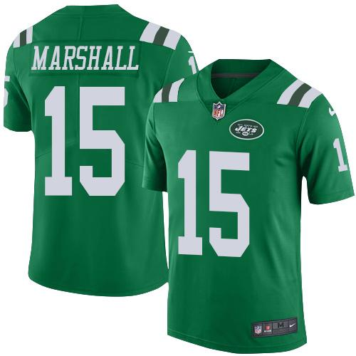 Nike Jets #15 Brandon Marshall Green Youth Stitched NFL Elite Rush Jersey