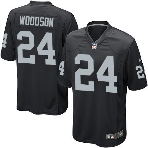 Nike Raiders #24 Charles Woodson Black Team Color Youth Stitched NFL Elite Jersey