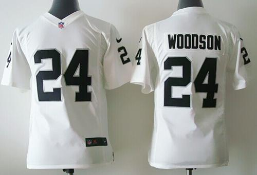 Nike Raiders #24 Charles Woodson White Youth Stitched NFL Elite Jersey