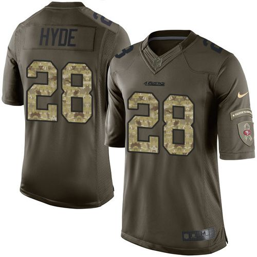 Nike 49ers #28 Carlos Hyde Green Youth Stitched NFL Limited Salute to Service Jersey