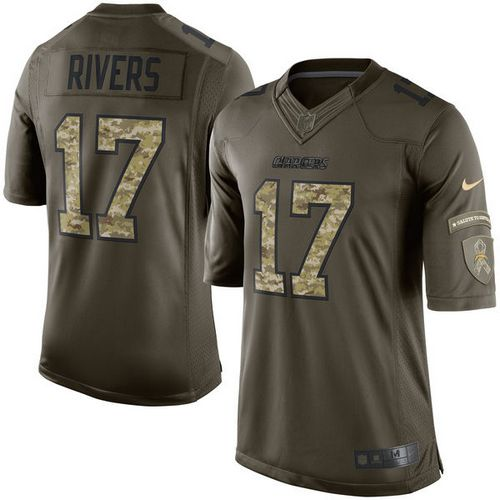 Nike Chargers #17 Philip Rivers Green Youth Stitched NFL Limited Salute to Service Jersey