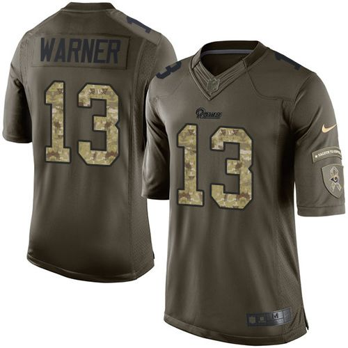 Nike Rams #13 Kurt Warner Green Youth Stitched NFL Limited Salute to Service Jersey