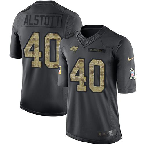 Nike Buccaneers #40 Mike Alstott Black Youth Stitched NFL Limited 2016 Salute to Service Jersey