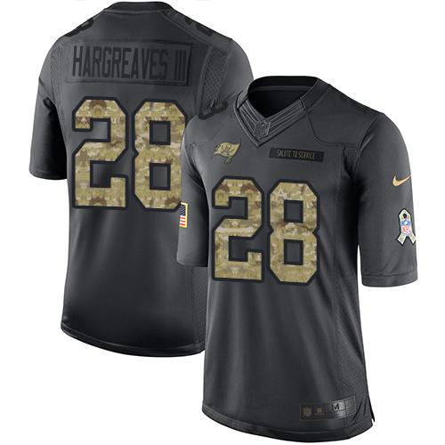 Nike Buccaneers #28 Vernon Hargreaves III Black Youth Stitched NFL Limited 2016 Salute to Service Jersey