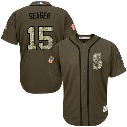 Mariners #15 Kyle Seager Green Salute to Service Stitched Youth MLB Jersey