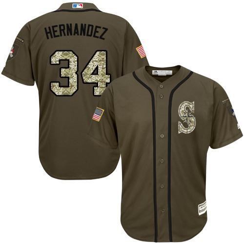 Mariners #34 Felix Hernandez Green Salute to Service Stitched Youth MLB Jersey