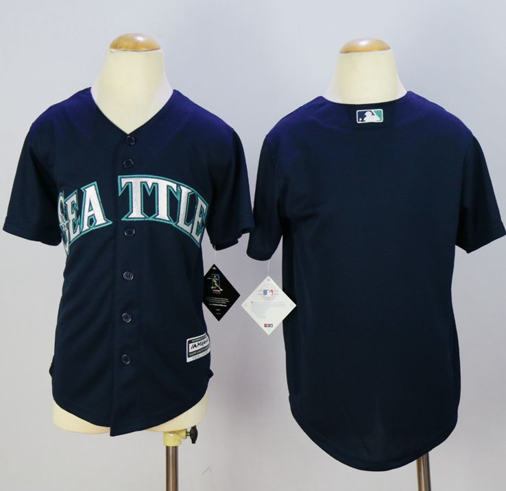 Mariners Blank Navy Blue Cool Base Stitched Youth MLB Jersey