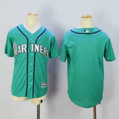Mariners Blank Green Cool Base Stitched Youth MLB Jersey