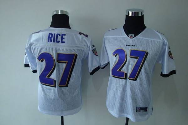 Ravens #27 Ray Rice White Stitched Youth NFL Jersey