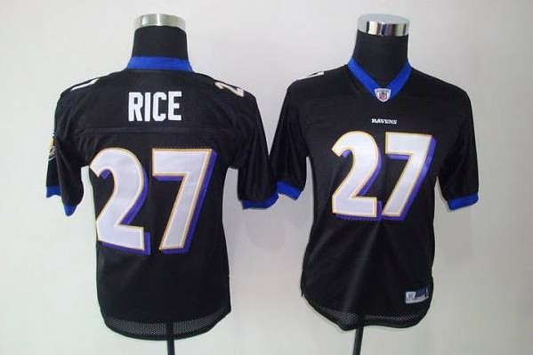 Ravens #27 Ray Rice Black Stitched Youth NFL Jersey