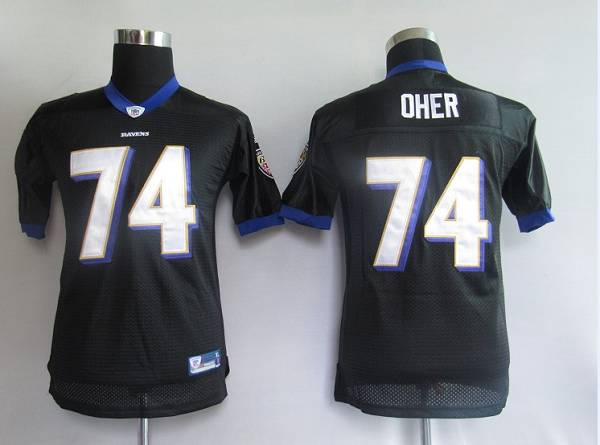 Ravens #74 Michael Oher Black Stitched Youth NFL Jersey