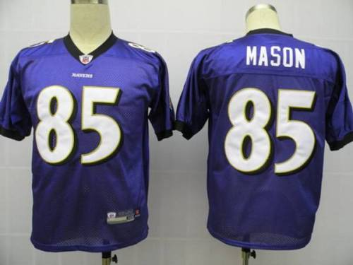 Ravens #85 Derrick Mason Purple Stitched Youth NFL Jersey