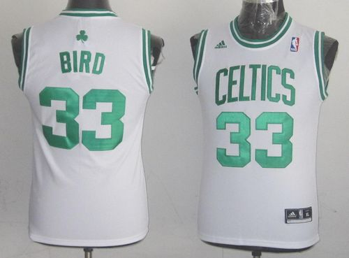 Celtics #33 Larry Bird White Throwback Stitched Youth NBA Jersey