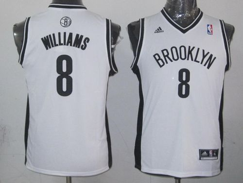 Nets #8 Deron Williams White Stitched Youth NBA Jersey