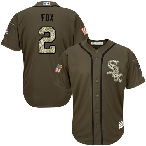 White Sox #2 Nellie Fox Green Salute to Service Stitched Youth MLB Jersey
