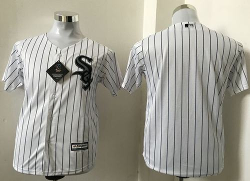 White Sox Blank White(Black Strip) Cool Base Stitched Youth MLB Jersey
