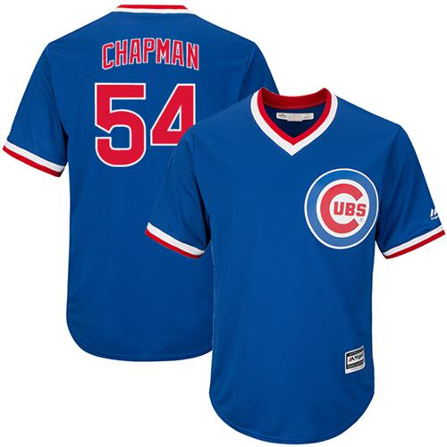 Cubs #54 Aroldis Chapman Blue Cooperstown Stitched Youth MLB Jersey