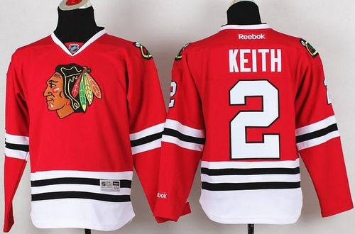 Blackhawks #2 Duncan Keith Red Stitched Youth NHL Jersey