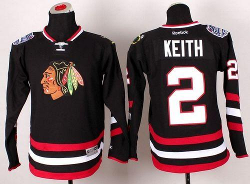 Blackhawks #2 Duncan Keith Black 2014 Stadium Series Stitched Youth NHL Jersey