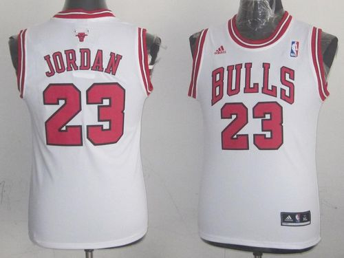 Bulls #23 Michael Jordan Stitched White Youth NBA Jersey