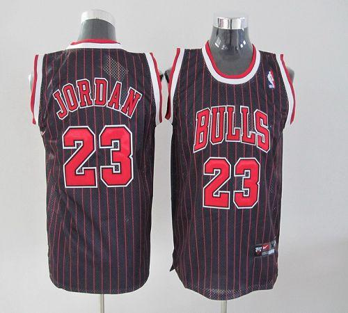 Bulls #23 Michael Jordan Stitched Black Red Strip Youth NBA Jersey
